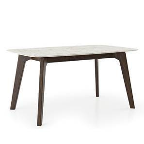 Galatea 4 Seater Marble Dining Table (American Walnut Finish) by Urban Ladder