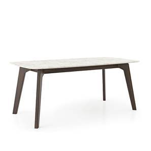 Galatea Marble Dining Table (American Walnut Finish) by Urban Ladder