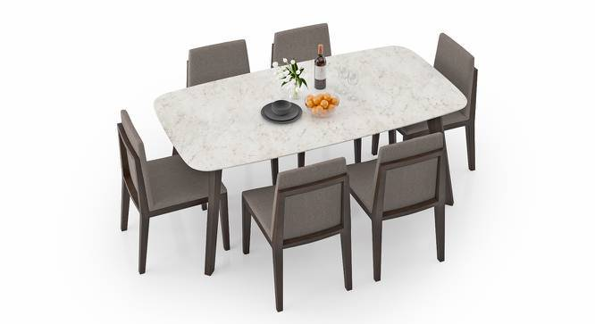 Galatea Marble 6 Seater Dining Set (American Walnut Finish) by Urban Ladder