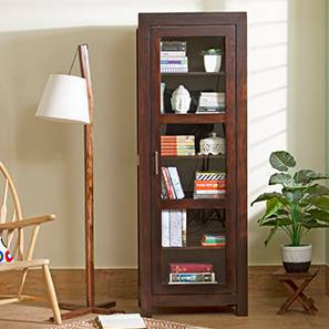 Murano Single-Door Display Cabinet (Teak Finish)
