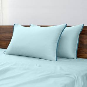 Serena 300 TC Sateen Bedsheet Set (King Size, Solid Aqua Haze) by Urban Ladder