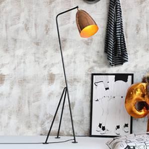 Melman Floor Lamp (Black Base Finish, Barrel Shade Shape, Copper Shade Color) by Urban Ladder