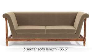 Malabar Wooden Sofa (Tuscan Tan Velvet)