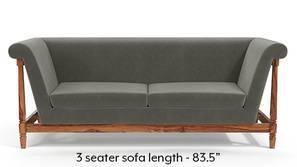 Malabar Wooden Sofa (Ash Grey Velvet)