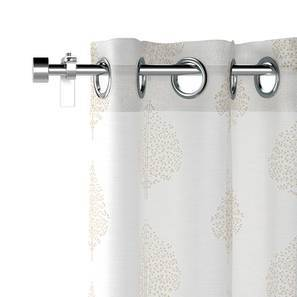 "Aspen Embroidered Sheer Door Curtains - Set Of 2 (Ivory, 52""x108"" Curtain Size) by Urban Ladder"