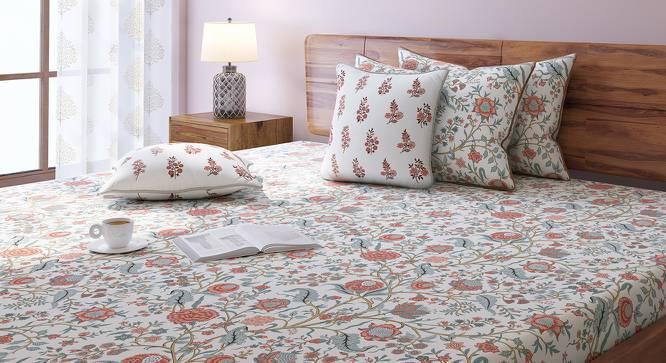 Calico Bedsheet Set (King Size, Peach Pattern) by Urban Ladder