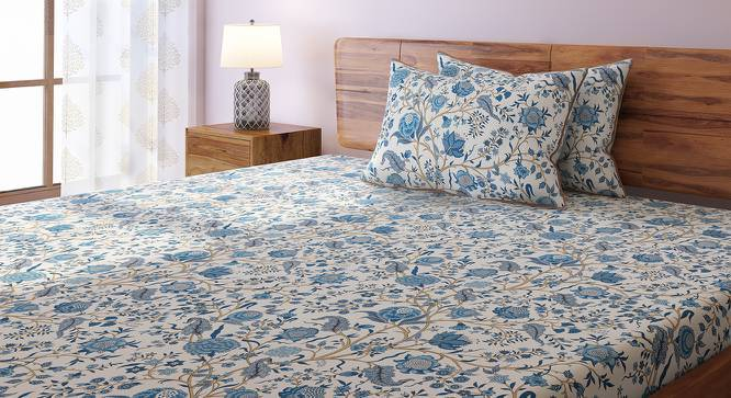 Calico Bedsheet Set (Double Size, Indigo Pattern) by Urban Ladder