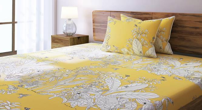 Secret Garden Bedsheet Set (King Size, Contour Yellow) by Urban Ladder