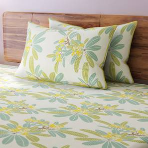 Awesome Frangipani Bedsheet Set (Yellow, King Size) By Urban Ladder