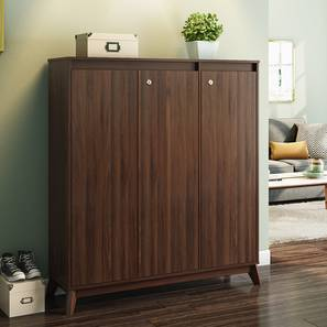Webster Shoe Cabinet (Walnut Finish, 32 Pair Capacity, 3 Door) by Urban Ladder