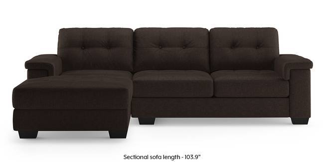 Turin Sectional Sofa (Brown) (Brown, Right Aligned 3-seater Custom Set - Sofas, None Standard Set - Sofas, Fabric Sofa Material, Regular Sofa Size, Sectional Sofa Type)