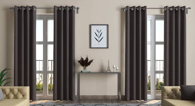 """Ethos Door Curtains - Set Of 2 (Charcoal Grey, 52""""x108"""" Curtain Size) by Urban Ladder"""