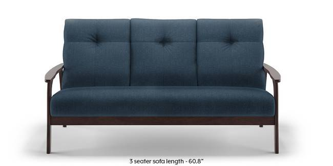 Brandon Wooden Sofa (Blue) (Blue, 1-seater Custom Set - Sofas, None Standard Set - Sofas, Fabric Sofa Material, Regular Sofa Size, Regular Sofa Type)