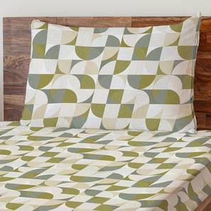 Colour Block Bedsheet Set (Single Size, Curves & Lines  Pattern) by Urban Ladder
