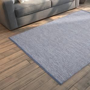 "Ziggy Dhurrie (48"" x 72"" Carpet Size, Blue & White) by Urban Ladder"
