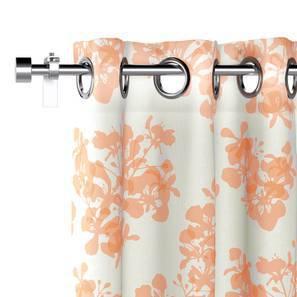 "Gulmohar Door Curtains - Set Of 2 (Peach, 54""x84"" Curtain Size, Floral Pattern) by Urban Ladder"