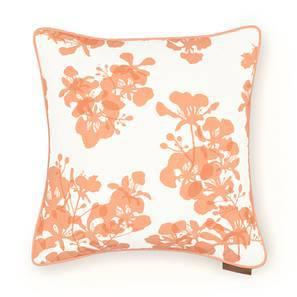 "Gulmohar Cushion Cover - Set Of 2 (18"" X 18"" Cushion Size, Peach, Floral Pattern) by Urban Ladder"