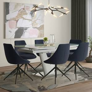 Caribu 6 to 8 Extendable - Doris (Fabric) 6 Seater Dining Table Set (Blue) by Urban Ladder