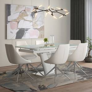 Caribu 6 to 8 Extendable - Doris (Leatherette) 6 Seater Dining Table Set (White) by Urban Ladder