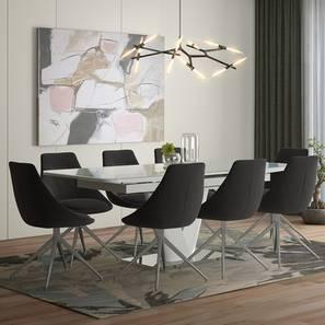 Caribu 6 to 8 Extendable - Doris (Fabric) 8 Seater Dining Table Set (Dark Grey) by Urban Ladder