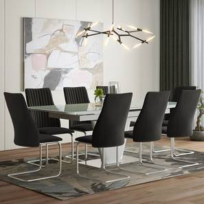 Caribu 6 to 8 Extendable - Ingrid (Fabric) 8 Seater Dining Table Set (Dark Grey) by Urban Ladder