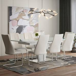 Caribu 6 to 8 Extendable - Ingrid (Leatherette) 8 Seater Dining Table Set (White) by Urban Ladder