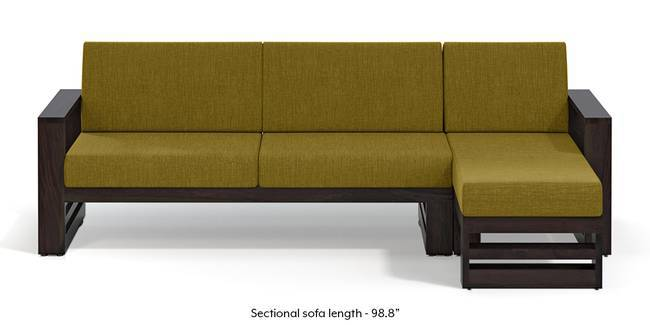 Parsons Wooden Sectional Sofa - American Walnut Finish (Olive Green) (None Standard Set - Sofas, Olive Green, Fabric Sofa Material, Regular Sofa Size, Sectional Sofa Type, Right Aligned 3 seater + Chaise Custom Set - Sofas)