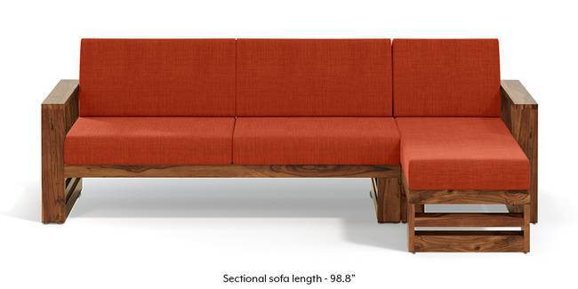 Parsons Wooden Sectional Sofa - Teak Finish (Lava Rust) (None Standard Set - Sofas, Lava, Fabric Sofa Material, Regular Sofa Size, Sectional Sofa Type, Right Aligned 3 seater + Chaise Custom Set - Sofas)