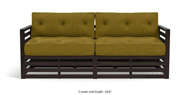 Raymond Low Wooden Sofa - American Walnut Finish (Olive Green) (3-seater Custom Set - Sofas, None Standard Set - Sofas, American Walnut Finish, Olive Green, Fabric Sofa Material, Regular Sofa Size, Regular Sofa Type)