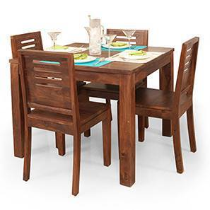 Lovely Arabia Square   Capra 4 Seater Dining Table Set (Teak Finish) By Urban  Ladder