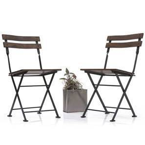 Masai Patio Chairs - Set of Two (Teak Finish) (Black)