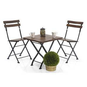 Masai Patio Table Set (Teak Finish) (Black) by Urban Ladder