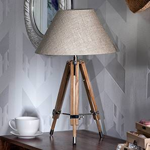 Kepler Tripod Table Lamp (Natural Base Finish, Natural Shade Color, Conical Shade Shape) by Urban Ladder