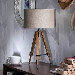 Kepler Tripod Table Lamp (Natural Base Finish, Cylindrical Shade Shape, Natural Shade Color) by Urban Ladder