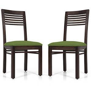 Zella Dining Chairs - Set of 2 (Mahogany Finish, Avocado Green) by Urban Ladder