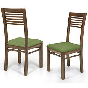 Zella Dining Chairs - Set of 2 (Teak Finish, Avocado Green)