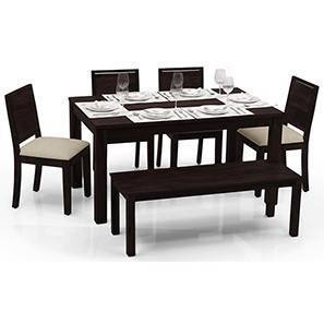 Arabia - Oribi 6 Seater Dining Table Set (With Bench) (Mahogany Finish, Wheat Brown) by Urban Ladder