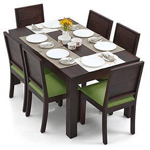 Arabia - Oribi 6 Seater Dining Table Set (Mahogany Finish, Avocado Green) by Urban Ladder