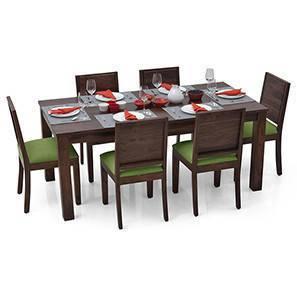 Arabia XL - Oribi 6 Seater Dining Set (Mahogany Finish, Avocado Green)