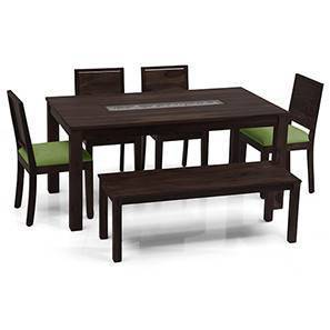 Brighton - Large Oribi 6 Seater Dining Table Set (With Bench) (Mahogany Finish, Avocado Green) by Urban Ladder