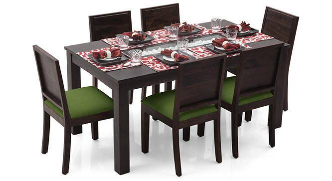 Brighton Large - Oribi 6 Seater Dining Table Set (Mahogany Finish, Avocado Green) by Urban Ladder