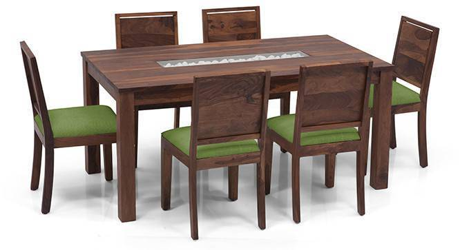 Brighton Large - Oribi 6 Seater Dining Table Set (Teak Finish, Avocado Green) by Urban Ladder