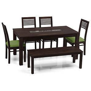 Brighton Large - Zella 6 Seater Dining Table Set (With Bench) (Mahogany Finish, Avocado Green) by Urban Ladder