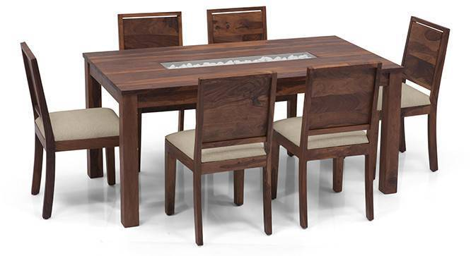Brighton Large - Oribi 6 Seater Dining Table Set (Teak Finish, Wheat Brown) by Urban Ladder