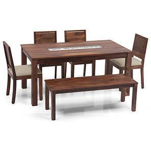 Brighton - Large Oribi 6 Seater Dining Table Set (With Bench) (Teak Finish, Wheat Brown) by Urban Ladder
