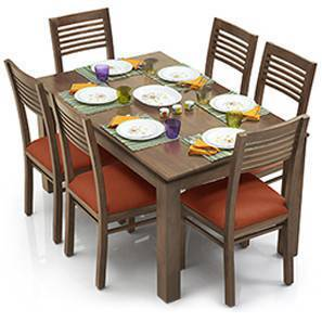 Arabia - Zella 6 Seater Dining Table Set (Teak Finish, Burnt Orange) by Urban Ladder