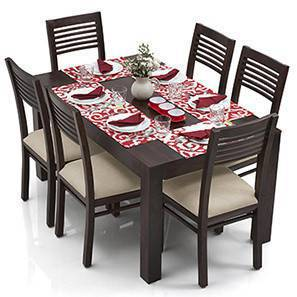 Arabia - Zella 6 Seater Dining Table Set (Mahogany Finish, Wheat Brown)