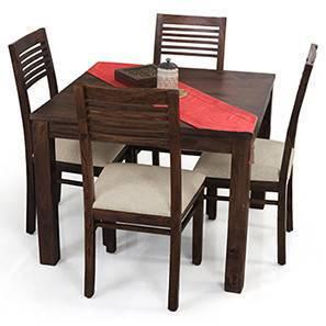 Arabia Square - Zella 4 Seater Dining Table Set (Mahogany Finish, Wheat Brown)