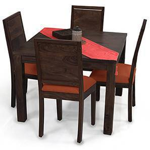 Arabia Square - Oribi 4 Seater Dining Table Set (Mahogany Finish, Burnt Orange) by Urban Ladder
