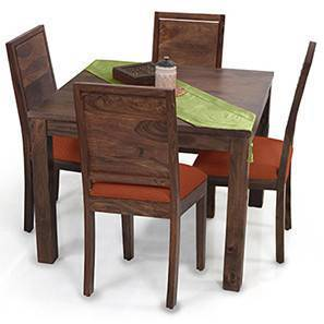 Arabia Square - Oribi 4 Seater Dining Table Set (Teak Finish, Burnt Orange) by Urban Ladder